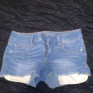 AE shortie shorts, frilled at bottom